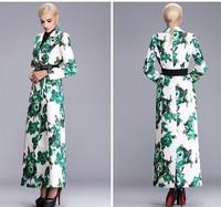 2014 autumn fashion trench women's plus size XXXL slim long coat outwear print double button coat ladies overcoat