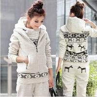 Winter Thick Women's Sport Suit (Hoodie,Pants,Vest) 3pcs/set Women Leisure Deer Sports Hoodie Sweatshirts Set Warm Sweater Suit