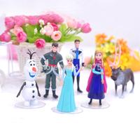 17cm Frozen Figure Play Set Anna Elsa Hans Kristoff Sven Olaf 6pcs/lot PVC 6-10cm High Action Figures Classic Toys
