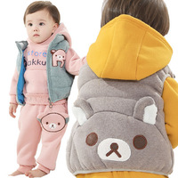 Free shipping children's winter clothing cotton David Bear boys and girls fashion vest three-piece suit