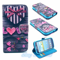 Hot Selling!10PCS/lot High quality Colored drawing insert card stand phone holster for Samsung S3 i9300 Turning Wallet case