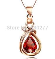 Duoerlan   Female   Rose Gold Natural Garnet Pendant Necklace