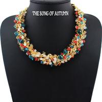 2014 New Fashion Women jewelry ZA Brand Luxury Crystal Necklace & Pendants 24k  Chain Statement necklace