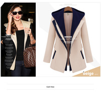 2014 New Women Autumn False two Coat Fashion Long Sleeve Zipper Hooded Jacket Winter Warm Thick Casual Trench S M L XL 2XL