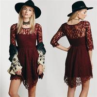 England Casual Net Yarn Lace dress,Fashion New Big Yards Women Flower Pattern Dress, Modal Long Sleeve Loose Chiffon Short Dress