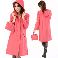 Newest style rainwear adult rain gear womens raincoats with hood zipper style 3color to choose