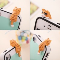 wholesale 50pcs/lot kawaii cat anti dust plug for cell phone iphone 4 SAMSUNG /fashion universal 3.5mm ear jack headphone cap