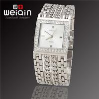 Most Popular WEIQIN Brand New Fashion Women Dress Rhinestone Decoration Bracelet Watch, Waterproof Stainless Steel Quartz Watch