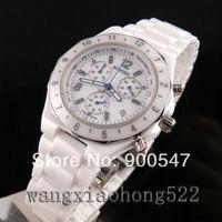 Details about White Ceramic chronograph unisex stylish tachymeter Quartz bracelet Watch R22