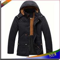 2014 New Brand Mens Winter Jackets Casual Hoody Jacket Winter Coat Cotton Windcheater Outdoor Hoodie Jackets Fur Men Overcoat