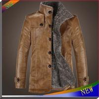 New Brand Mens Jacket Casual Autumn Winter Leather Jacket Winter Coat Cotton Waterproof Outdoor Leather Coats Fur Men Overcoat