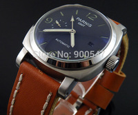 Details about 44mm parnis men Watch bow glass black dial GMT Automatic brown leather strap 007