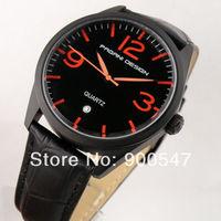 Details about 42mm PAGANI black dial datewindow red mark leather quartz men's watch PR2649