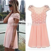 Big deal,2014 popular brand women lace dress pink sexy summer mini dresses S,M,L,XL free shipping