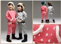 free shipping 2014 Winter Korean version of the full printed digital brushed Children Set Children leisure suit
