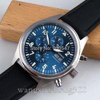Details about 42mm Parnis blue dial daydate WATCH Full chronograph quartz leather strap 044