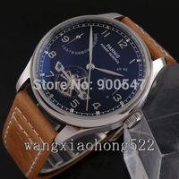 Details about 43mm Parnis black dial escapement lever Power Reserve automatic mens watch 234F