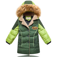 Children's new baby boy down jacket hooded long sections of Korean fashion winter coat special season