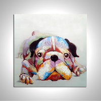 Framed Lovely Dog Home Decoration Canvas Oil Painting Animal Wall Art Paints Handpainted for Living Room or Baby Room A/158