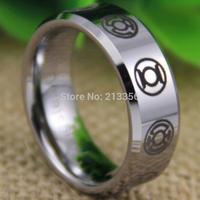 Free Shipping USA UK CANADA RUSSIA Brazil Hot Selling 8MM GREEN LANTERN Darkest Night Silver Beveled Men's Tungsten Wedding Ring