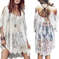 Vintage Boho Hippie Women's Floral Crochet Lace Party Short Mini Dress Tops S5M