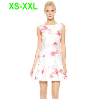 European UK Brand Ladies Sexy White with Red Flowers Print Sleeveless Elegant Double Layer Chiffon Skater Dress 141516891