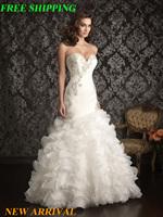 E25 sexy bride romantic custom made mermaid wedding dress 2014 dresses bridal gown plus size vestido de noiva 2015