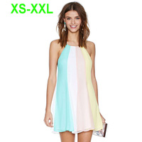 European UK Brand Ladies Sexy Rainbow Colorful Print Adjustable Cross Straps Back Loose Double Chiffon Mini Cami Dress 141516475