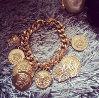 2014 New Fan * human head round coin coarse chain bracelet European and American Fan Free Shipping