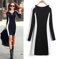 Dresses Autumn Winter Black White Mixed Color Long Sleeve Knittied Pencil Dress Sexy Lady Fashion Elegant Basic Veatido 421