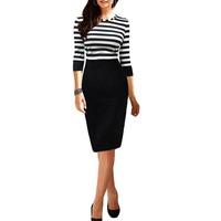 2014 Women Stripe Round Neck Three Quarter Sleeve Bodycon Party Evening Pencil Dress Clubwear S5M