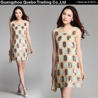 Wholesale Women Summer Slim Green Golden Sequin Plaid Embroidery Gauze Tank Short Dresses Girls Performance Party Beige QBD261