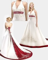 Free Shipping New Style Long Embroidery White/Ivory Satin Halter V-Neck Beading A-Line Bridal Gown Wedding Dresses Custom Made