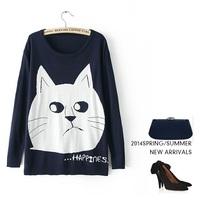 New 2014 Women's Autumn sweater knit long Pullover sweater Garfield letter Long-sleeve Basic Shirt  women casual Sweater gift