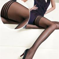 2pcs Women Fashion Black Sexy Top Stripe Stay Up Thigh High Knee Stocking Tights New