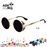 Carving Pattern Retro Round Sunglasses Women Brand Designer Vintage Shielded Glasses Men with Golden Frame oculos gafas de sol