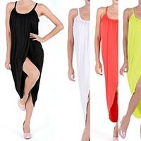 Women's Lady Irregular Strap Beach Dress Sleeveless Boho Maxi Slim Sundress S5M