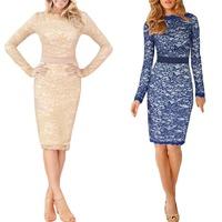 Womens Ladies Elegant Lace Crochet Party Evening Stretch Floral Pencil Dress S5M