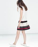 2014  New Fashion Ladies' elegant colored striped print Skirts mini skirts casual slim brand designer office lady quality skirt