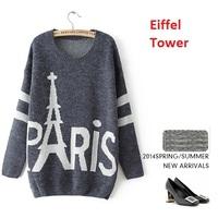 New 2014 Women's Autumn sweater knit long Pullovers sweater Eiffel Tower letter Long-sleeve Basic Shirt  women casual Sweater