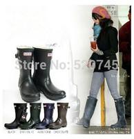 Top Brand Women Mid-Calf Rain Boots,Fashion Rubber Wellies Boots,Women's Rain Shoes,Free Shipping!