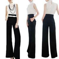 2014 Ladies Women Casual Black Slim High Waist Flare Wide Leg Long Pants Trousers S5M