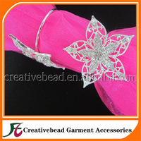 2014 hot sale silver metal flower rhinestone napkin ring for wedding table decoration wholesale China