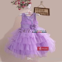 Wholesale - New Arrivals flower girl dress Children Lace evening dress Beautiful flowe pearl students sleeveless party dress lay