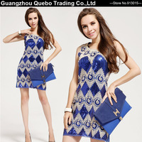 2015 Women Spring Shining Blue Dresses Tank Sexy Elegant Slim Paillette Rope Flower Sequin Embroidery Club Party Dress QBD271