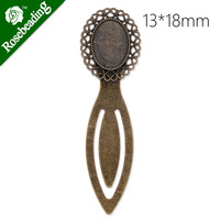 13x18mm oval Setting Bezels Cameo Mountings Tray Base,Vintage Antiqued Bronze Bookmark,length:79mm,10pcs/lot-C3932