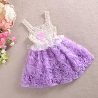5pcs/lot New 2014 Children Clothing Girls Flower Dress Baby Girls Lace Formal Party Wedding Dress Baby Girls Summer Dresses