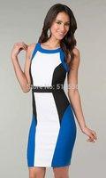 Summer new round neck women club dress sleeveless casual dress elegant bodycon dress
