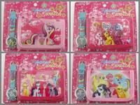 New My little Pony Kids wallet and watch sets gift cartoon girls boys children quartz purse frozen spiderman watches 100pcs/lot
