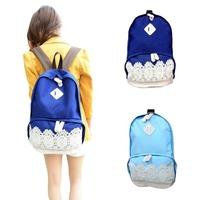 Retro Lace Denim Girls Women's Travel School Bag Canvas Backpack Rucksack S5M